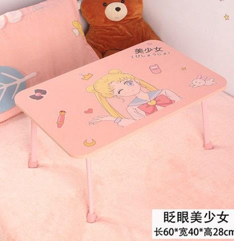 Folding small book table on reading bed Sailor Moon water cup slot notebook hanging in the air