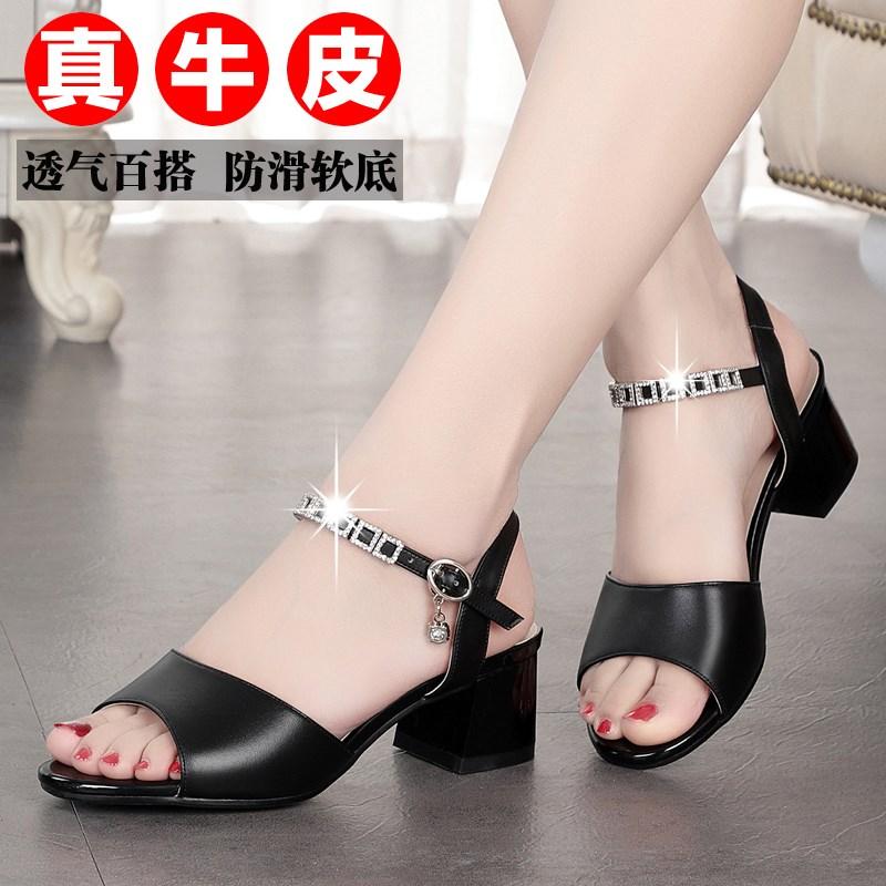 Summer leather fashion middle heel black versatile soft bottom mother sandals large womens shoes 41-43