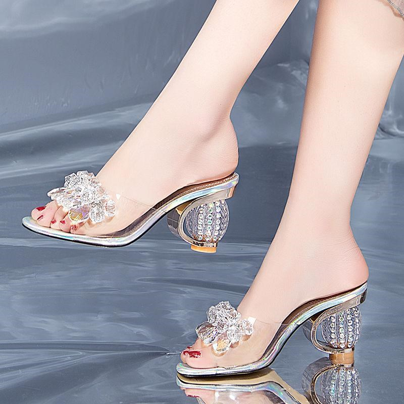 Slipper woman summer sandal wear 2019 new fashion Korean high-heeled shoes with thick heel and diamond half drag woman.