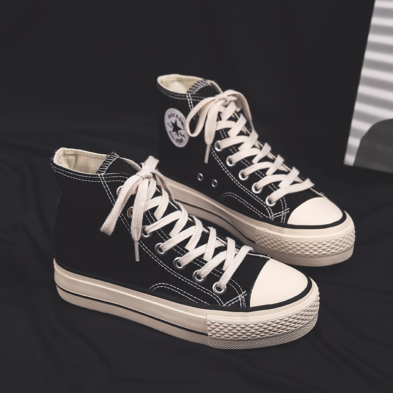 High top canvas shoes womens thick sole 2020 new student Korean version versatile ulzzang retro Hong Kong style inschao cloth shoes