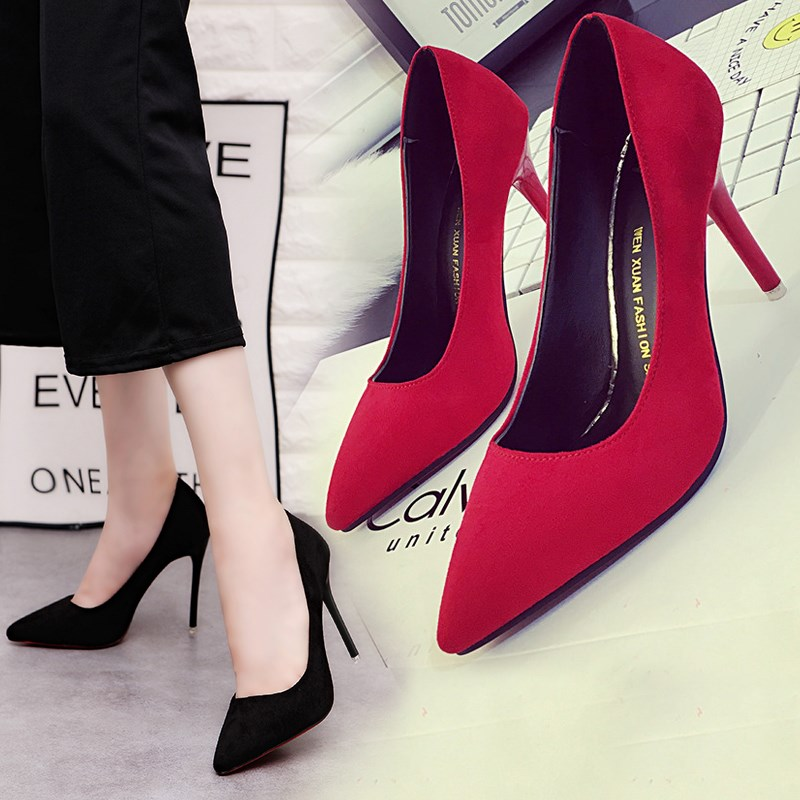 Korean version of four seasons nude high heeled shoes slim heel pointed womens Shoes Sexy Red Suede wedding shoes black work shoes single shoes