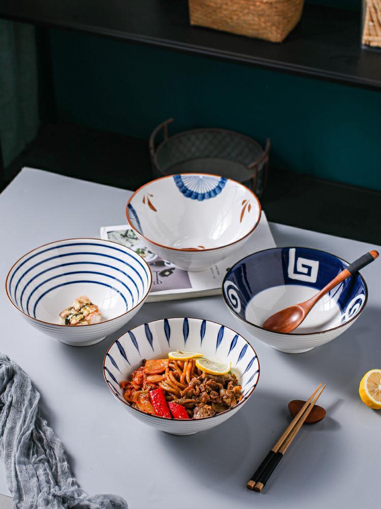 日式拉面碗单个家用创意斗笠碗饭碗吃泡面碗陶瓷餐具大号汤碗面碗 - 封面
