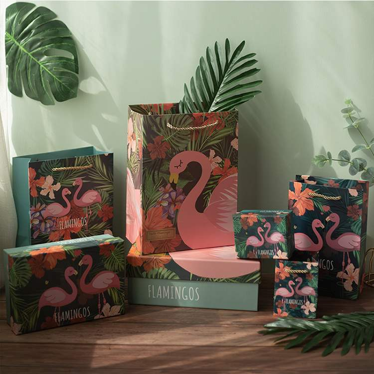 Wedding packaging high grade Fanny fan Flamingo with hand gift handbag supplies Chinese Valentines Eve gift box and box gift
