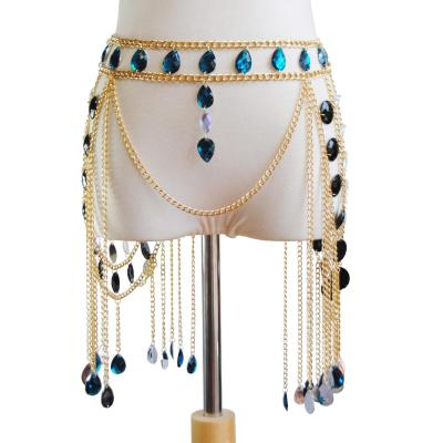 European and American cross border new accessories sexy hollow Gemstone Pendant skirt waist chain retro body dress chain