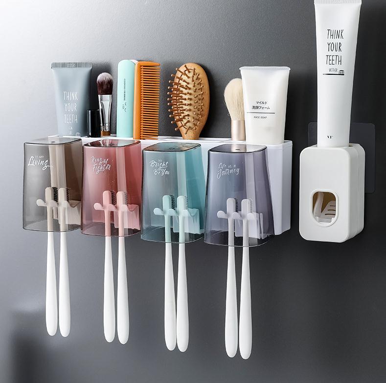 浴室牙刷置物架情侣款多功能双人洗漱架一对吸壁杯子。牙具杯套装