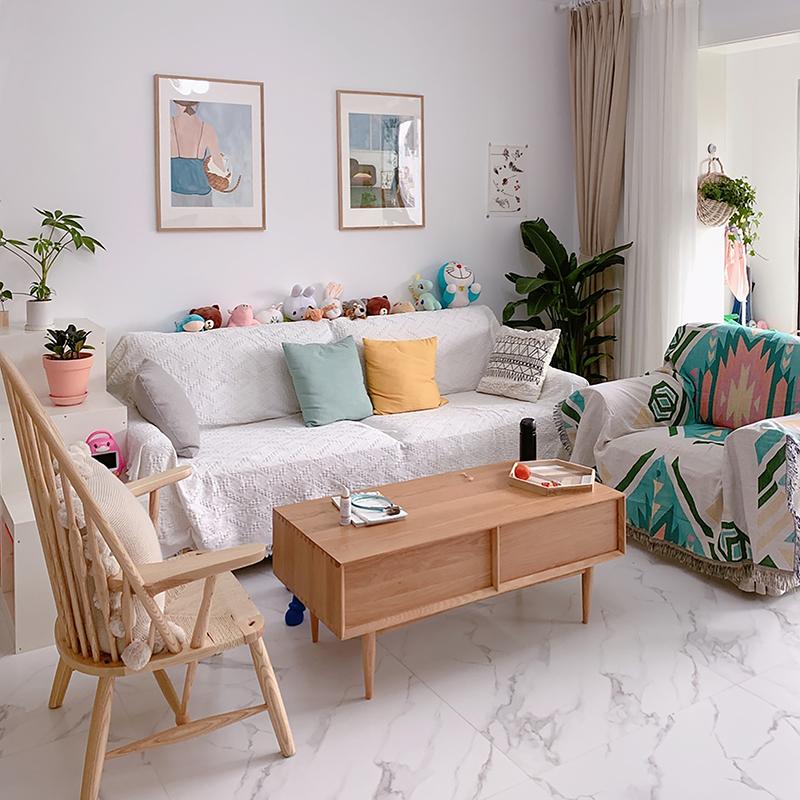 白色北欧风格沙发罩套全包万能套简约现代毯子沙发巾全盖布沙发垫18.90元包邮