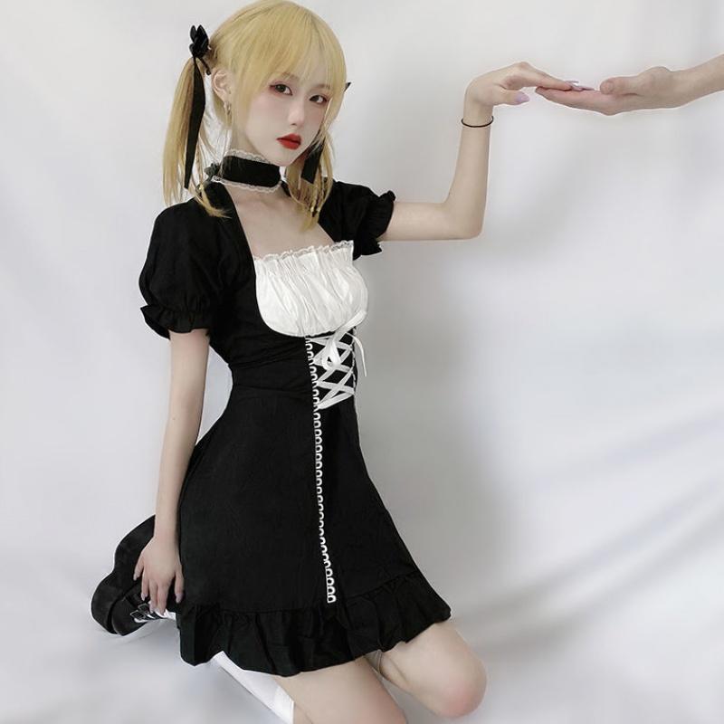 Japanese bubble sleeve dress Maid Dress soft girl Lolita cute academy Gothic little black dress