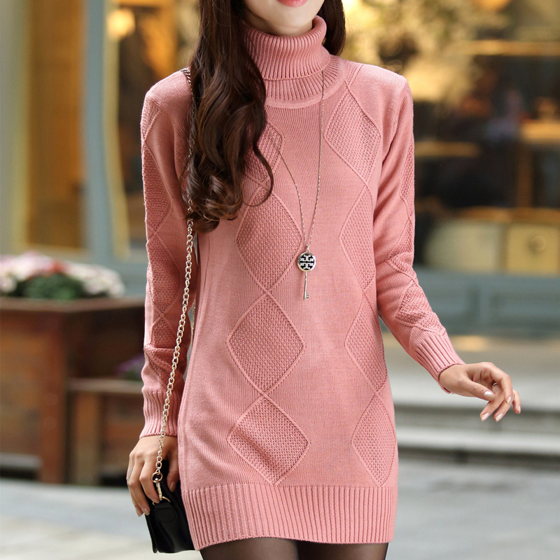 Autumn and winter new high and low necked sweater womens Pullover Korean medium length loose long sleeve knitted base coat
