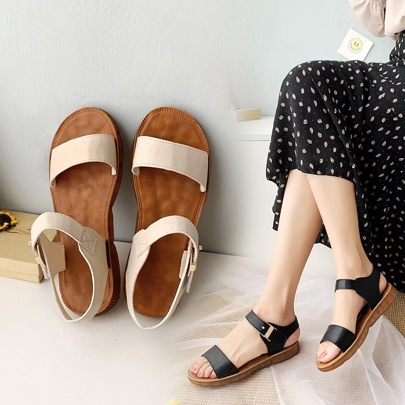 aibella2020夏季新款百搭软底平底舒适简约魔术贴学生休闲凉鞋女图片