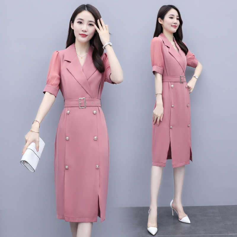 Summer 2020 fashion round neck elegant and versatile solid color suit dress