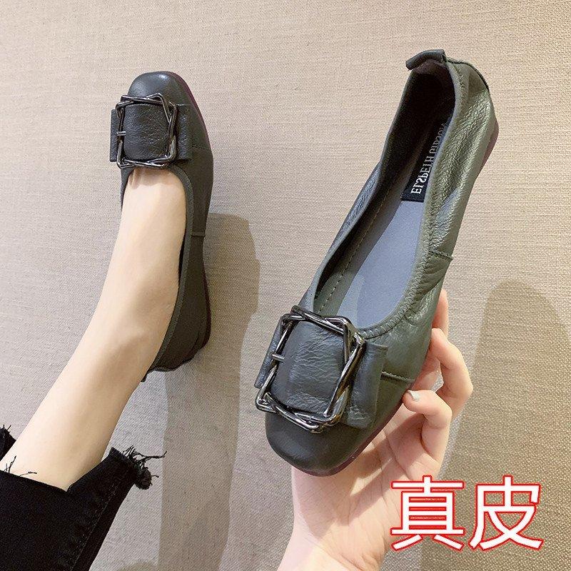 真皮网红仙女奶奶鞋软底芭蕾舞女鞋