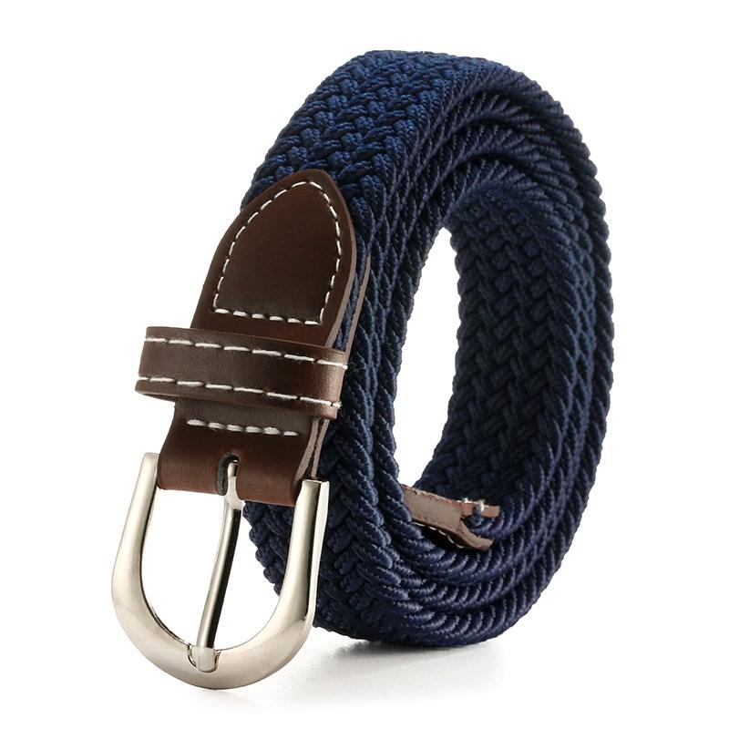 タオバオ仕入れ代行-ibuy99|腰带|新款纯色女士帆布腰带细松紧腰带休闲弹力编织学生针扣皮带