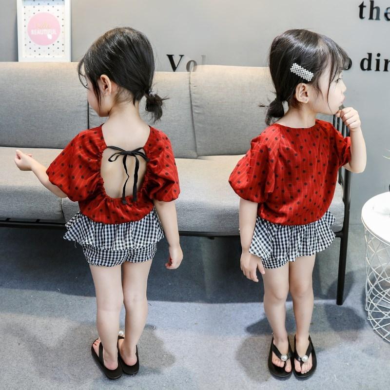 热销0件正品保证女童夏季套装01-2周岁3婴幼儿露背短袖4女宝宝夏款洋气两件套潮衣