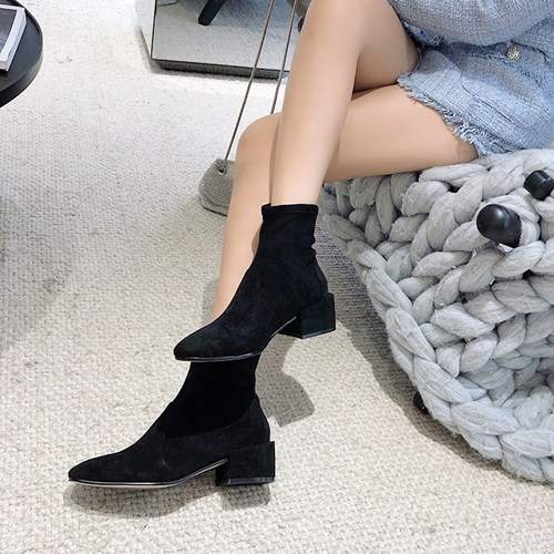 Mantenergran net red thin boots short boots womens new short boots in autumn and winter 2019 thick heel middle heel socks