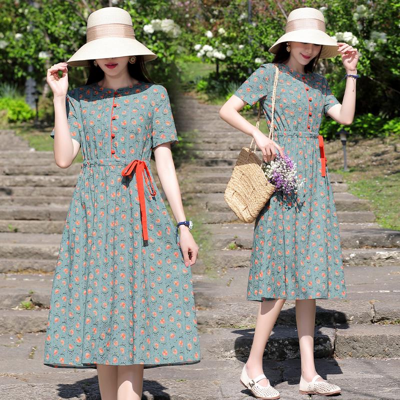 Summer new fashion cotton comfortable womens dress waist lace up print medium and long urban dress