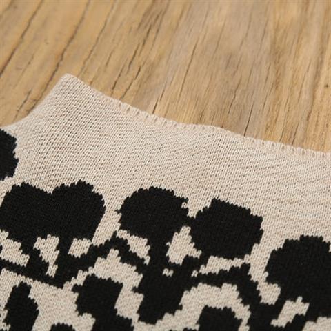 Womens new loose sweater half high neck Korean knitwear pattern jacquard Pullover shoulder bottomed long sleeve.