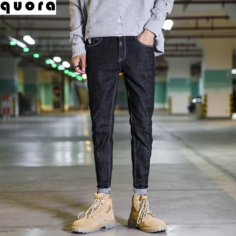配马丁靴的裤子男韩版潮流休修身小裤脚紧腿显瘦牛仔裤牛寨手仔你