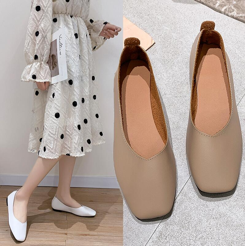 Youji high quality womens shoes single shoes 2020 Korean version versatile ins super fire Black Flat soled soft leather pea shoes