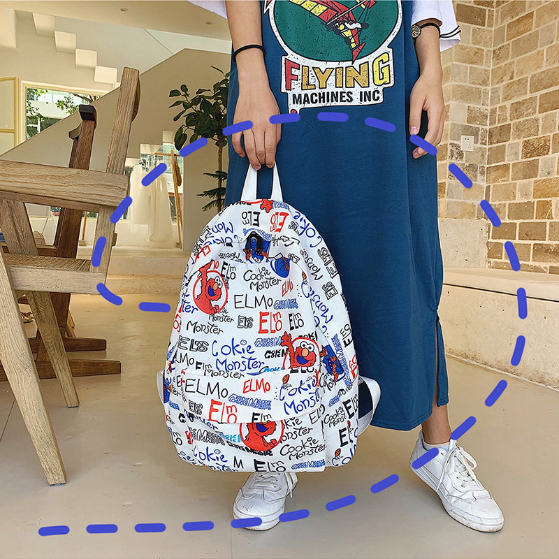 Ins Sesame Street backpack super fire campus style Korean young girl small fresh college students junior high school schoolbag