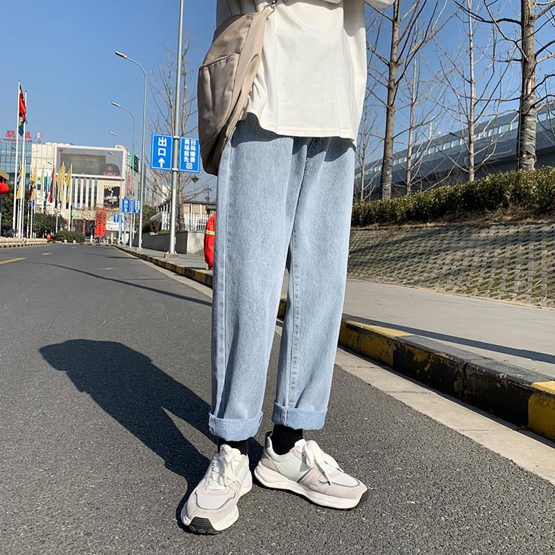 2021春夏季新款中性风牛仔裤男 青少年港风宽松阔腿裤NK920-P45