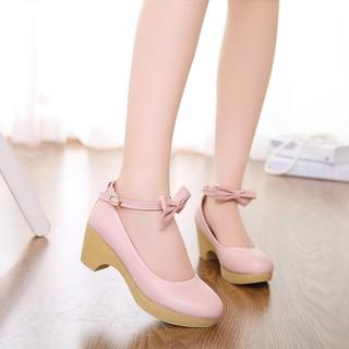 2020新款秋季韩版学生甜美可爱休闲圆头单鞋中跟坡跟蝴蝶结女鞋子