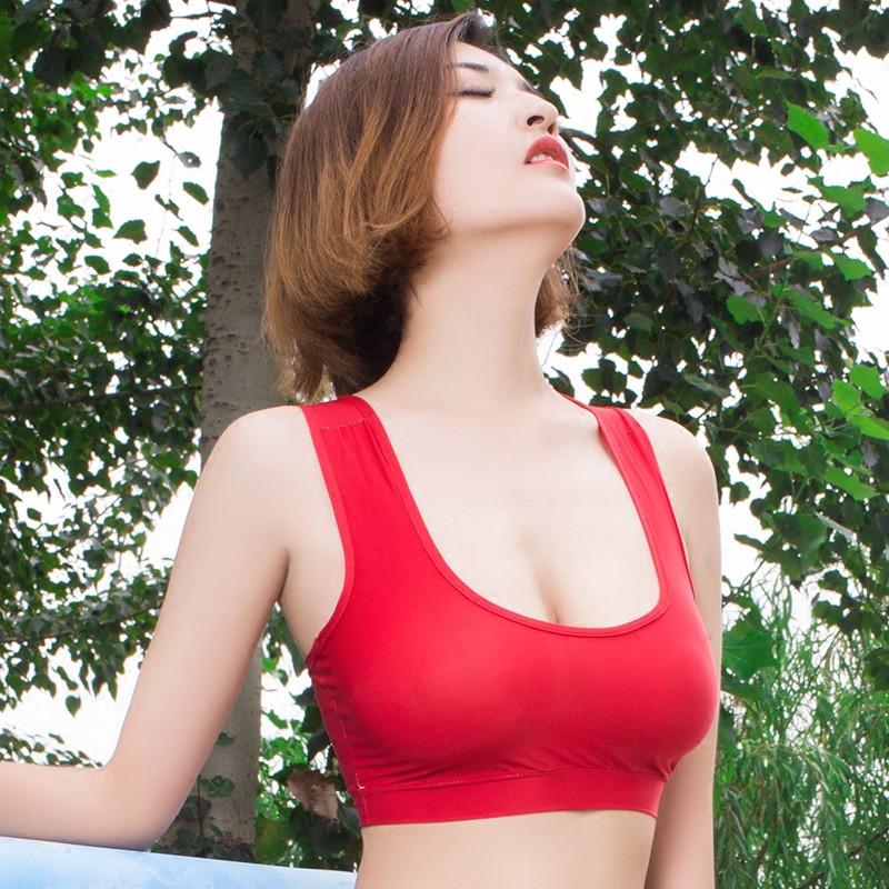 热卖的买2送1 性感女潮短款冰丝抹胸文胸超薄款内衣紧身打底小吊