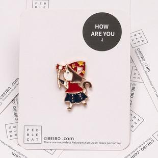 魔法小女孩胸針ins潮 個性可愛日系卡通徽章別針書包創意百搭配飾