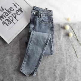 2020春夏新高腰小个子开叉九分修身牛仔裤八分女生显瘦小脚铅笔裤