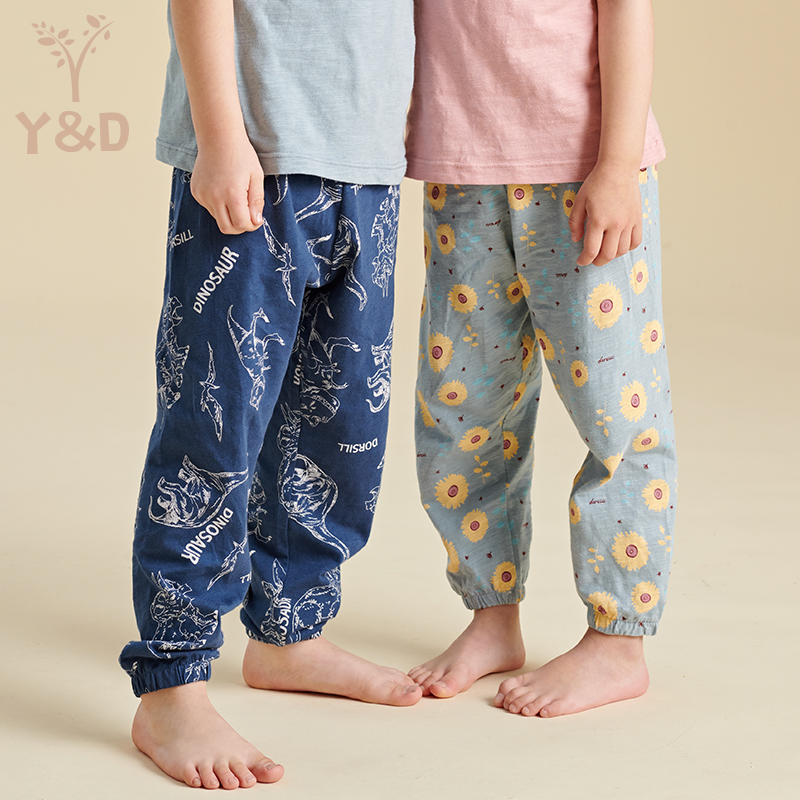 Childrens anti mosquito Pants Boys cotton pants summer thin girls middle and large childrens air conditioning casual pants baby lantern pants