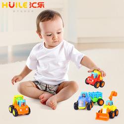 汇乐2021惯性车儿童益智玩具男孩大号拖拉机推土机铲车挖掘机车队