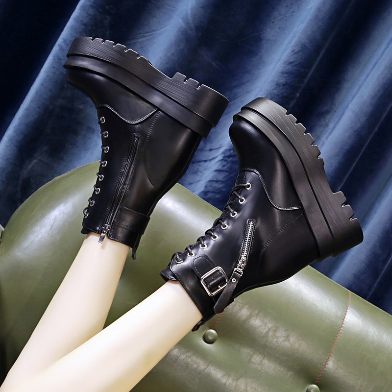 New 10cm high bottom Martin boots womens high heels and short tube boots in autumn 2020