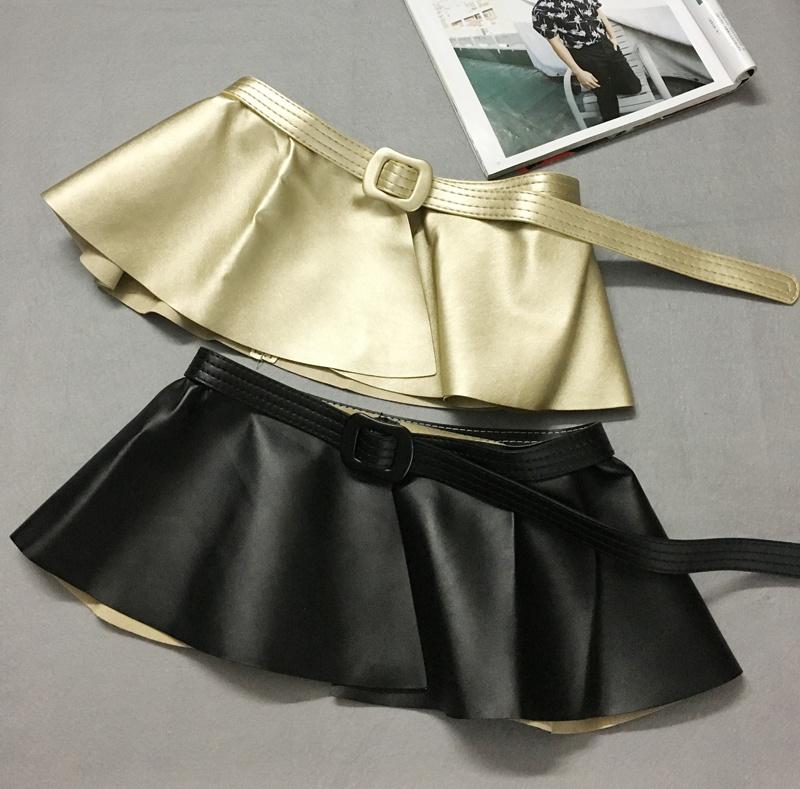 裙摆腰封褶皱荷叶边花边装饰腰带女超宽黑色绑带系带束腰欧美复古