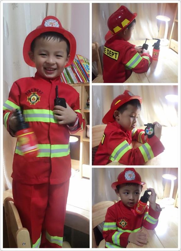 西安高端小消防员演出服儿童职业体验角色扮演服装幼儿园表演 cos