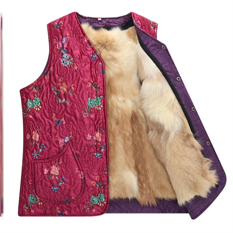 Top Plush collarless sleeveless temperament jacket middle aged and elderly waistcoat leisure winter fat mother increase vest woman