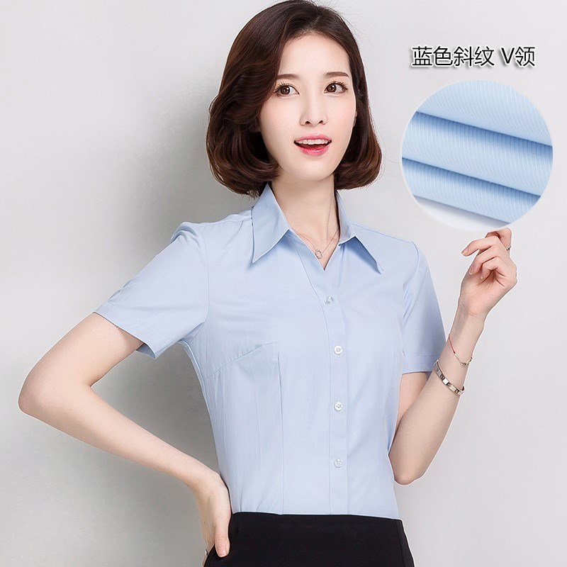 CCBs new business suit short sleeve shirt CCB professional womens wear white collar womens shirt work clothes