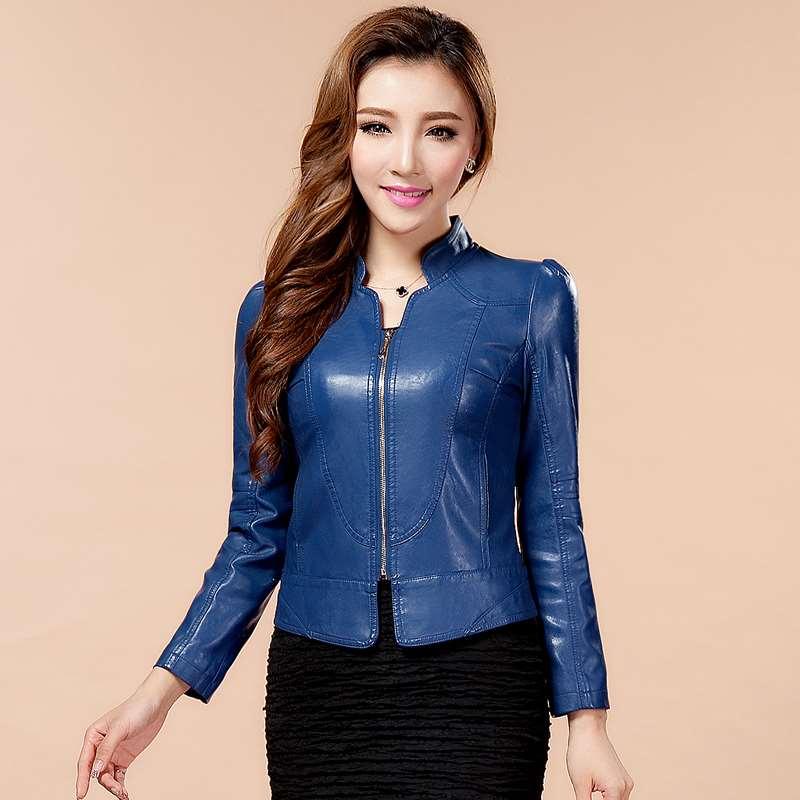 Autumn 2017 new locomotive small leather dress womens short slim fit Korean PU leather jacket womens jacket