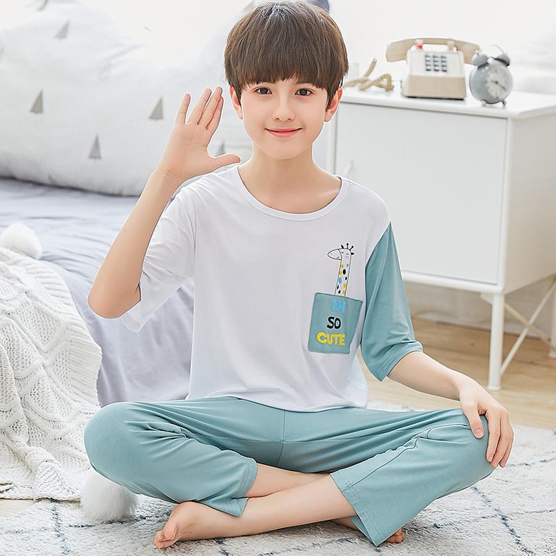 男童睡衣薄款莫代尔夏季儿童空调服短袖中大童夏天男孩家居服套装