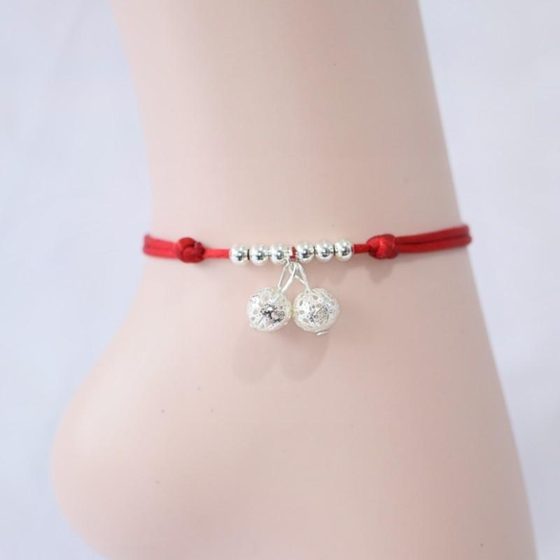 Chinese Red Rope Bracelet Silver Fashion Girl Girl Korean version students birthday boy fashion bamboo woven Anklet original bell