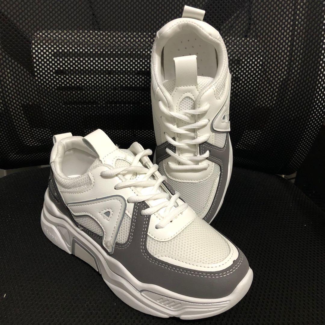 大学生女鞋2020春夏新款运动休闲波鞋低帮系带C-15平底圆头网面鞋