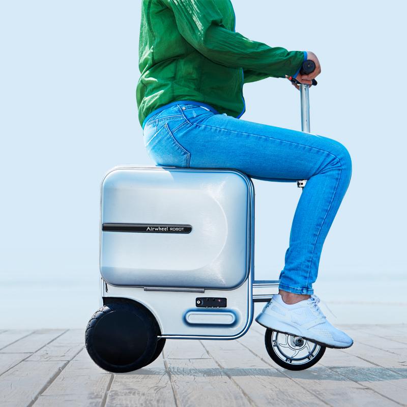三合一小型帅气旋转行李箱折叠电动代步车旅行手提箱30寸三轮机场