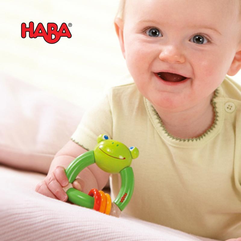 德国HABA进口宝宝青蛙手摇铃婴儿安抚抓握训练玩具0-3-6-9-12个月