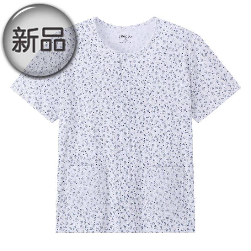 中老年人睡衣妈妈开衫短袖家居上衣单件夏季开襟薄款短g袖女士08