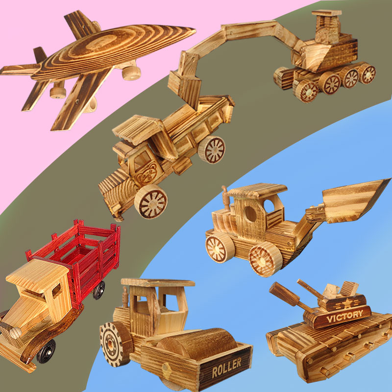 。 Childrens weapon and chariot toy model gift wooden combat aircraft artillery wooden rocket car missile car platform