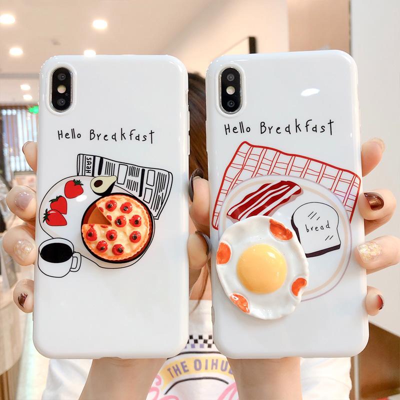 立体鸡蛋披萨苹果8plus手机壳6sp全包情侣款iPhoneXsMax创意保护套限1000张券