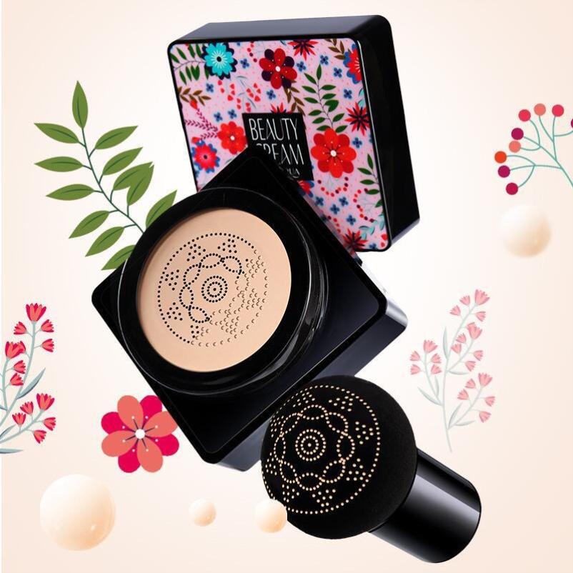 泊泉雅蘑菇头气垫细滑控油美颜霜细腻滋养美妆化妆2019彩妆棒bb。