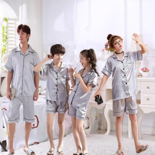 韩国口母女父子韩版休闲红色套装冰丝情侣家居服亲子睡衣夏短袖一