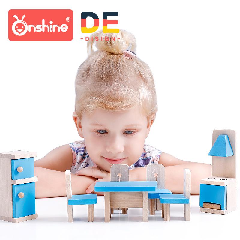 onshine木制仿真小家具过家家玩具DIY房屋角色扮演房屋摆设配件
