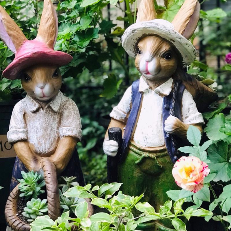 Outdoor garden Rabbit Garden Garden Garden Ornament American style vintage decoration store family yard display