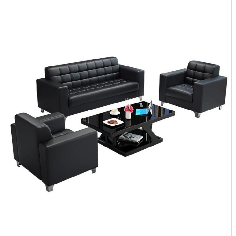 大厅家具接待台皮艺简约现代商业接待区客厅极简办公沙发套装座椅