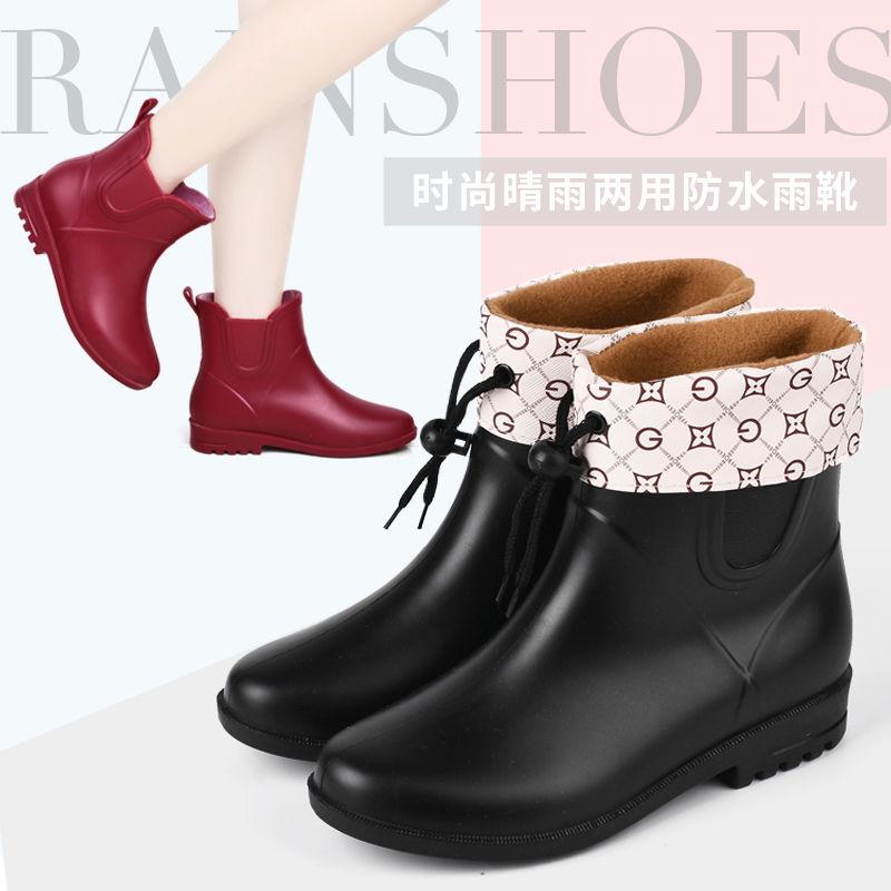 韩版水鞋女厨房工作鞋夏季雨鞋低帮短筒雨靴洗车工胶鞋防滑防水鞋